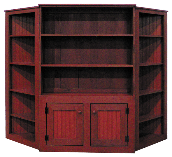 Two Corner Shelf Units shown in Old Burgundy with item #104 Pine Hutch 4' Wide