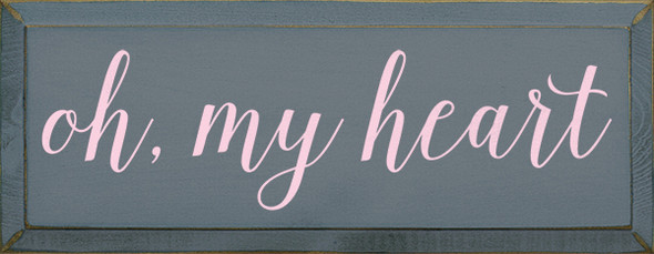 Shown in Old Slate with Baby Pink lettering