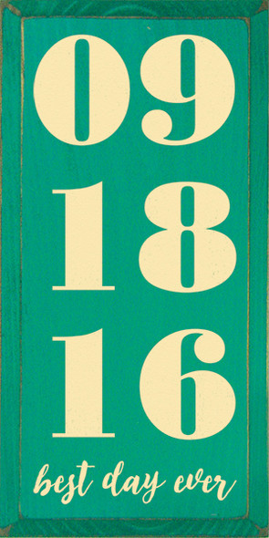 Shown in Old Emerald with Baby Yellow lettering