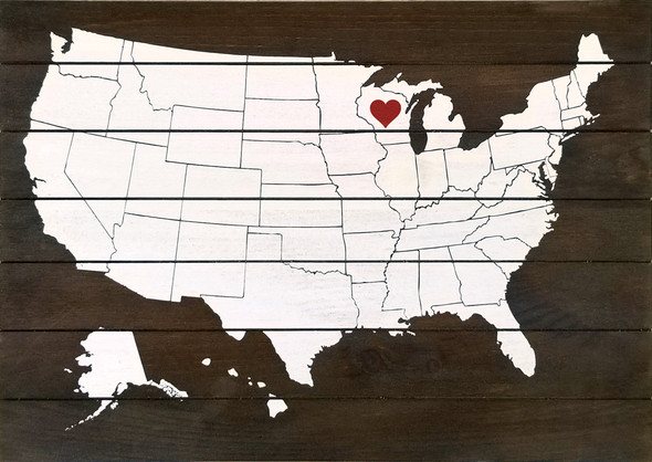 Wholesale Pallet-Style Personalized Sign | US Map with Heart Over State | Option 1 - Heart Only (Shown in Walnut Stain with Cottage White & Red)
