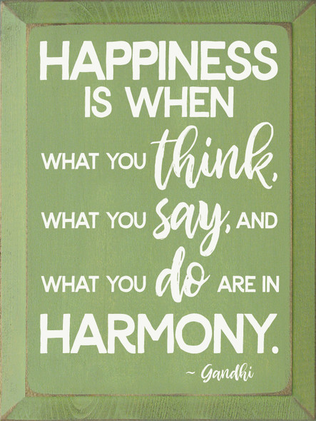 Happiness Is When... - Wooden Sign shown in Old Celery with Cottage White lettering