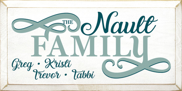 Shown in Old Cottage White with Sea Blue & Peacock lettering