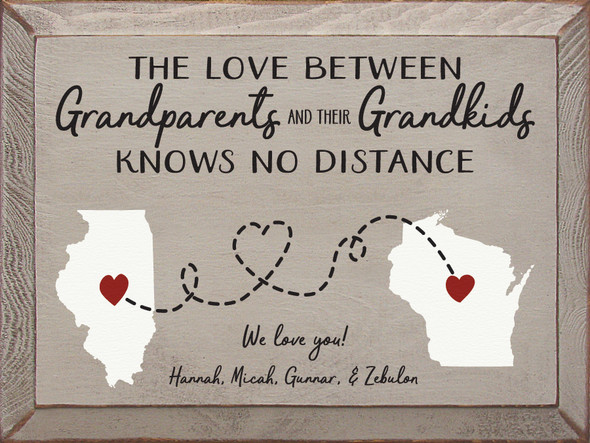 """9""""x12"""" Personalized Wood Sign - The Love Between Grandparents And Their Grandkids... - Old Putty, Black, Cottage White, and Red"""