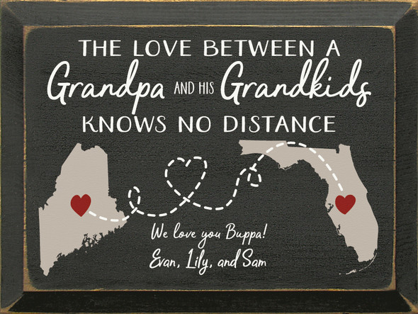 """9""""x12"""" Personalized Wood Sign - The Love Between A Grandpa & His Grandkids... - Old Black, Putty, Cottage White, and Red"""