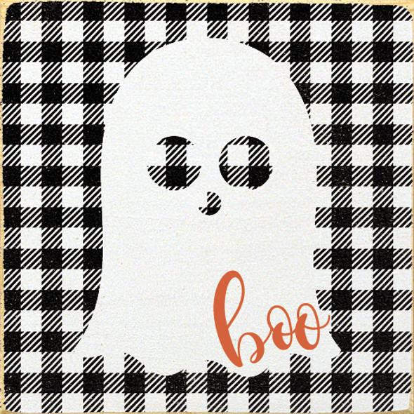 Cute Plaid-Patterned Ghost Sign | Boo Wood Sign Wholesale | In Old Cottage White with Black & Burnt Orange