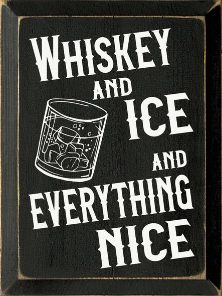 9x12 in. Wood Whiskey Sign in Old Black & Cottage White