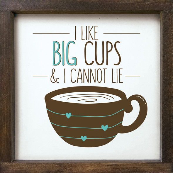 12x12 Framed Wood Coffee Sign in Brown & Aqua