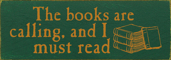 Simple Wood Book-Lovers Sign in Old Green & Gold