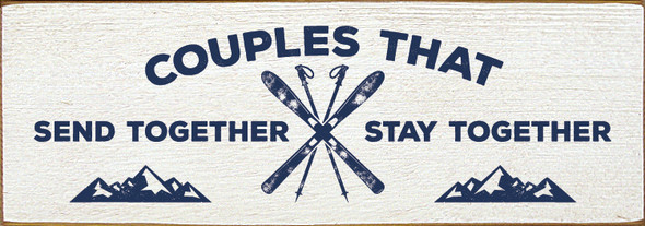 Simple Wood Skiing Sign in Old Cottage White & Blue