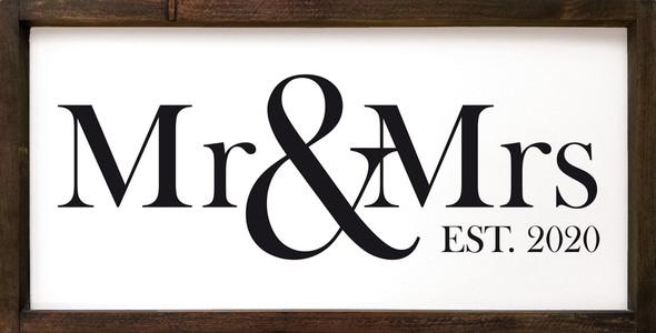 "Mr. & Mrs. Est. 2020 | 12""x24"" Wood Framed Sign | Sawdust City Framed Sign White Background & Black Text"
