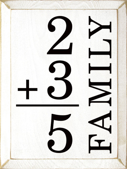 Custom Family Math Sign | Sawdust City Wood Signs - Old Cottage White & Black