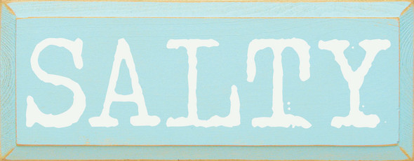 Salty | Sawdust City Wood Signs - Old Baby Aqua & Cottage White