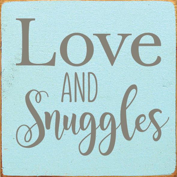 Love & Snuggles | Sawdust City Wood Signs - Old Baby Aqua & Anchor Gray