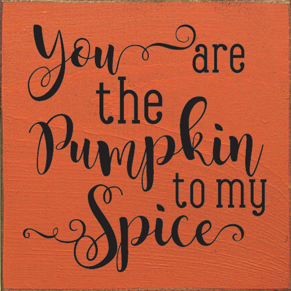 You Are The Pumpkin To My Spice Wood Sign | Shown in Old Burnt Orange with Black