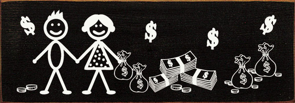 Stick Couple with Money | Funny Wood Sign | Sawdust City Wholesale