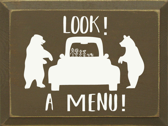 Look! A Menu! (image of bears by auto) | Funny Wood Bear Sign | Sawdust City Wholesale