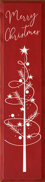 Merry Christmas with Swirly Tree | Wood Christmas Signs | Sawdust City Wood Signs Wholesale