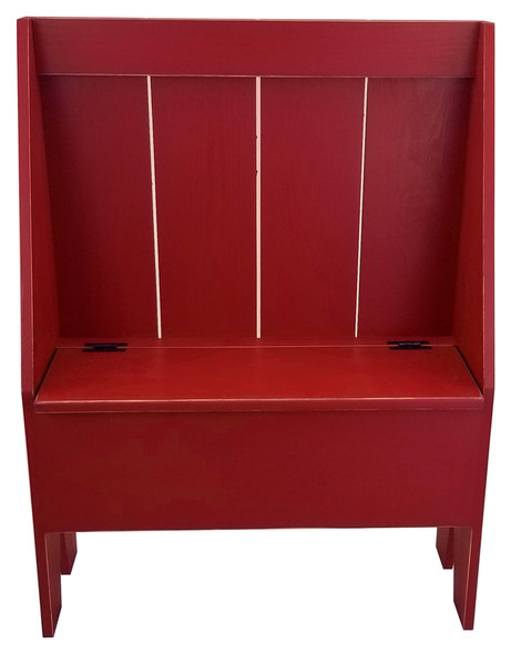 Solid knotty pine bench with storage | Wholesale Cantback Boot Bench | In Old Red