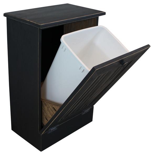 Wood Tilt-Out Trash Bin | Pine Furniture Made in the USA | Sawdust City Trash Bin in open Old Black