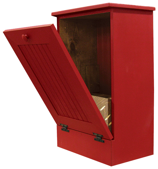 Wood Tilt-Out Trash Bin | Pine Furniture Made in the USA | Sawdust City Trash Bin in open Old Red