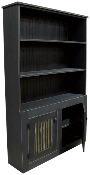 Straight Hutch shown in Old Black with beadboard doors