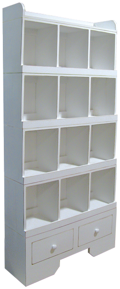Complete Modular System in Old Cottage White with 1 Base, 4 Cubby Units, and 1 Top (each sold separately)