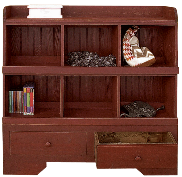 One bottom unit, two cubby units, and one top unit shown in Old Burgundy (each sold separately).
