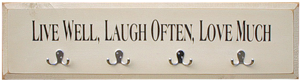 Shown in Old Baby Aqua with hooks and Brown lettering from a 7x36 sign