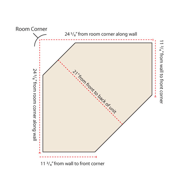 Top-Down diagram of corner locker measurements