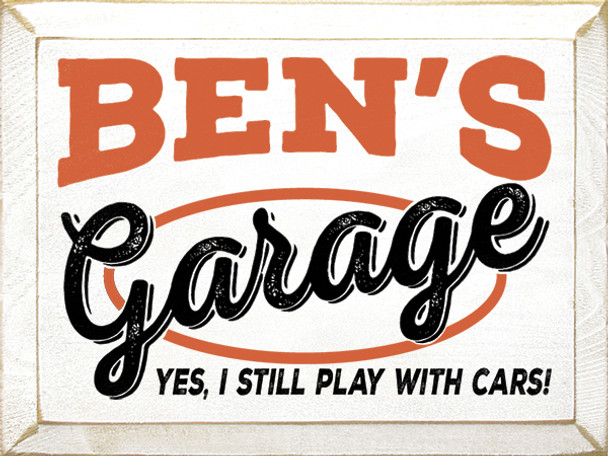 Shown in Old Cottage White with Burnt Orange and Black lettering