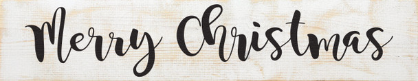 """7""""x36"""" Wood Sign - Merry Christmas - Sanded White & Black"""