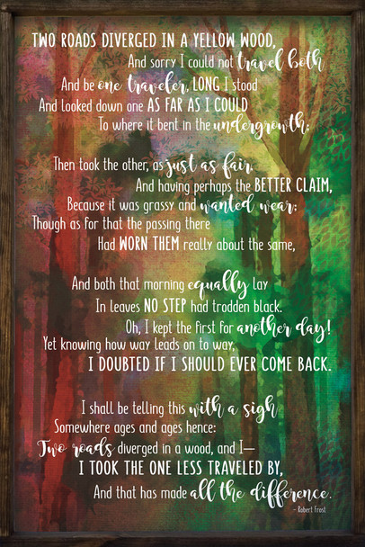 """24""""x36"""" Framed Sign with poem by Robert Frost """"Two Roads Diverged"""""""