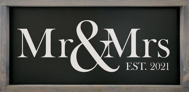 """Mr. & Mrs. Est. 2020   12""""x24"""" Wood Framed Sign   Sawdust City Framed Sign"""