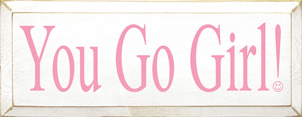 Shown in Old Cottage White with Pink lettering