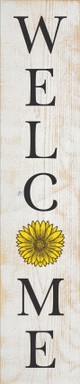 "10""x48"" Wood Sign - Welcome (vertical) - Sanded White & Black, Brown & Sunflower lettering"