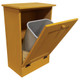 Wood Tilt-Out Trash Bin | Pine Furniture Made in the USA | Sawdust City Trash Bin in open Old Gold