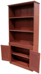 Straight hutch shown in Old Burgundy with beadboard doors (with braces for splitting into 3 parts for shipping)