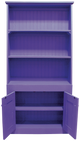 Cantback hutch in Solid Purple with beadboard doors (with braces for splitting into 3 parts for shipping.)