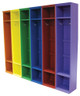 Six Lockers shown in Old Burnt Orange, Sunflower, Kelly, Royal, Red, Purple