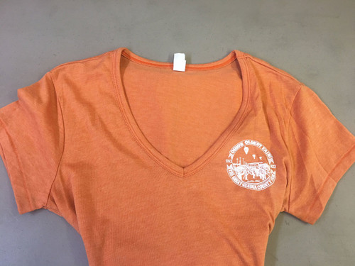 Adult Women V-Neck Short Sleeve Shirt in Orange