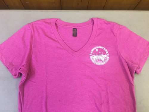 Adult Women V-Neck Short Sleeve Shirt in Raspberry Pink