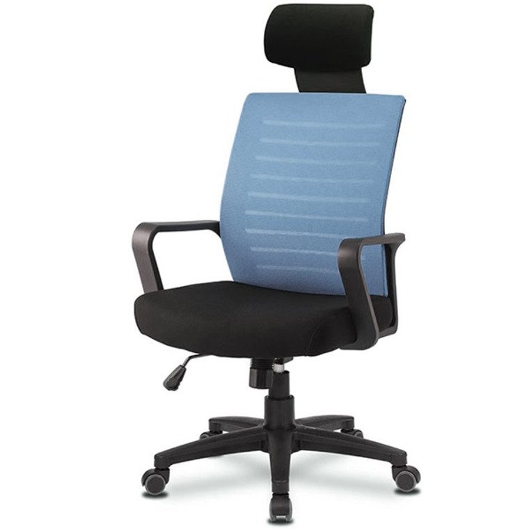 KLIIG HIGH BACK WITH HEADREST OFFICE CHAIR (Affordable mesh high back chair with excellent back support.  With headrest especially suitable for shorter people.)