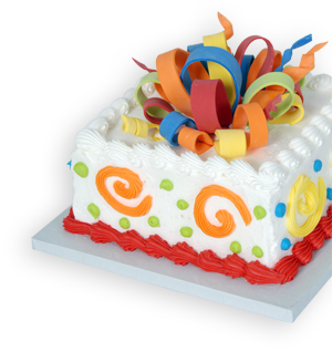 Birthday Cake with Colorful Icing Bows