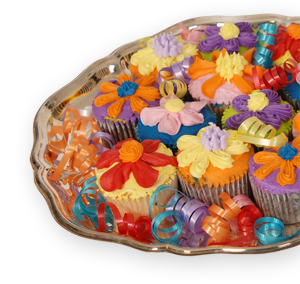 Cupcakes Displayed on Silver Serving Tray