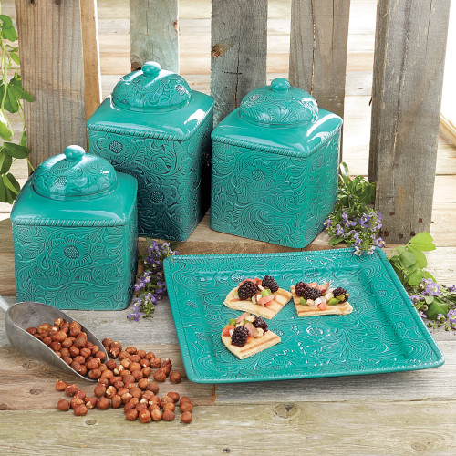Savannah Turquoise Kitchen Canister Set and Platte