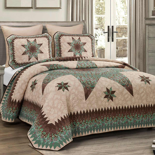 Aqua Star Quilt Bedding Collection