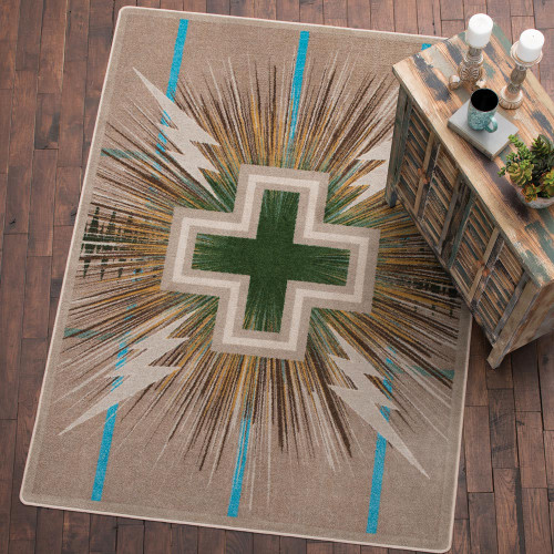 Temple Rug Collection - Gray & Turquoise
