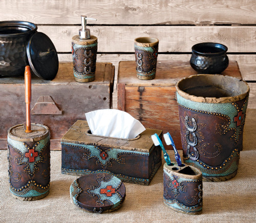 Turquoise Horseshoe and Cross Bath Accessories