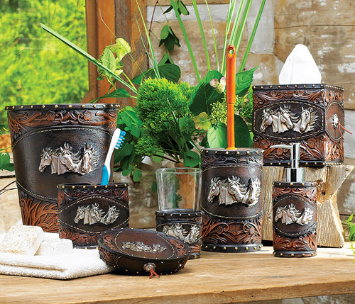Horse Tooled Leather Bath Accessories