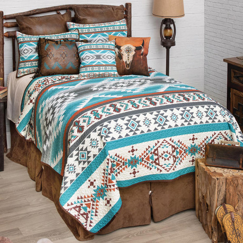 Summer Sky Turquoise Quilt Bedding Collection
